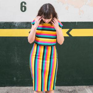 falda tubo rayas