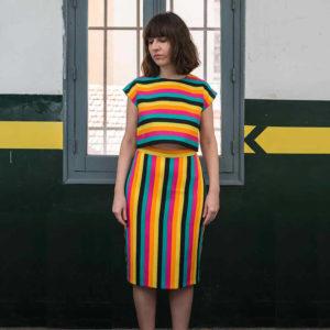 falda tubo a rayas