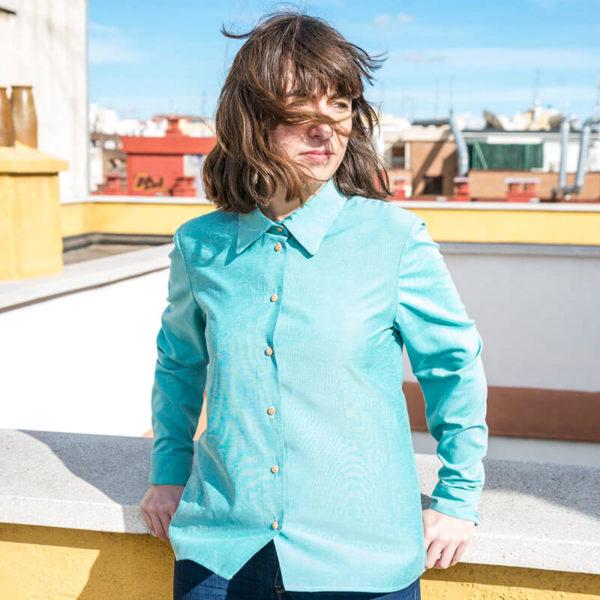 camisa azul jaspeada