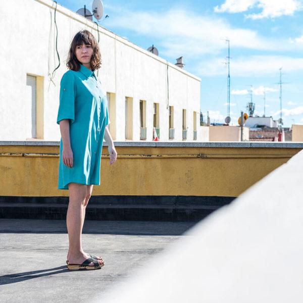 vestido camisero azul jaspeado